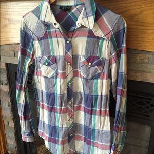 TopShop plaid snap button shirt